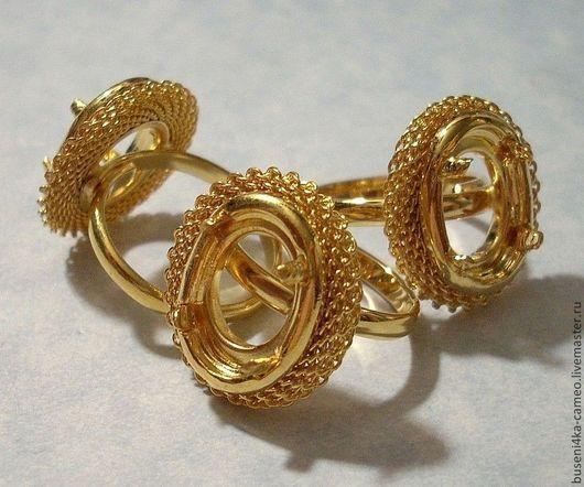 Для украшений ручной работы. Ярмарка Мастеров - ручная работа. Купить Основа для кольца Сеть 10х14мм, золотистая (1шт). Handmade.