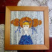 """Картины и панно ручной работы. Ярмарка Мастеров - ручная работа Панно """"Платье в горошек"""". Handmade."""