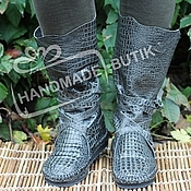 Обувь ручной работы handmade. Livemaster - original item boot moccasins in dark grey leather