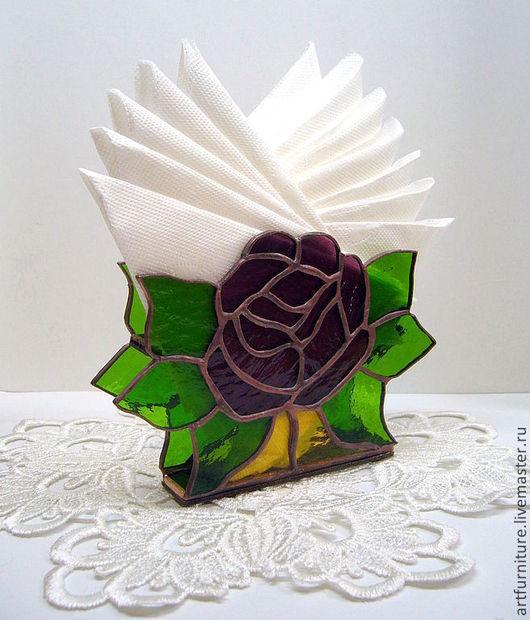 Кухня ручной работы. Ярмарка Мастеров - ручная работа. Купить Салфетница витражная Роза - подарок женщине на марта 8 для дома. Handmade.