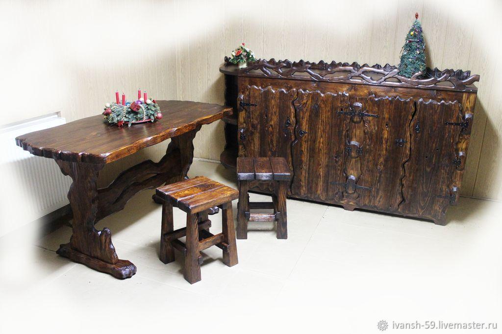 Комплект: тумба, стол и табуретки деревянные, Столы, Омск,  Фото №1