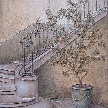"""Картины и панно ручной работы. Ярмарка Мастеров - ручная работа Фреска """"Лимонное дерево"""". Handmade."""