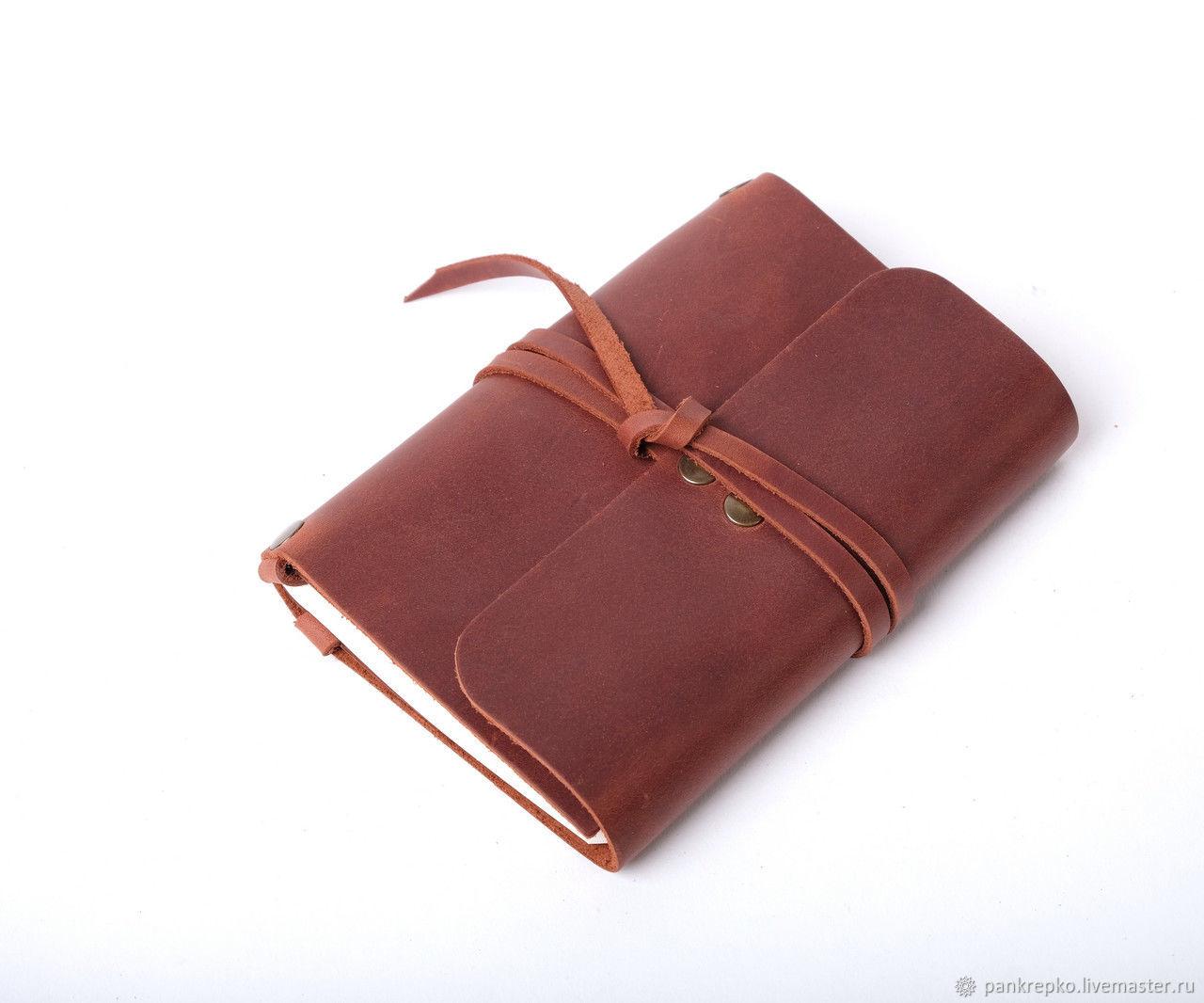 Кожаный коричневый блокнот А6 «Nota6 Cognac» ручной работы, Блокноты, Львов,  Фото №1