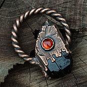 Украшения ручной работы. Ярмарка Мастеров - ручная работа Медный кулон с кристаллом мориона и сердоликом. Гальваника. Handmade.