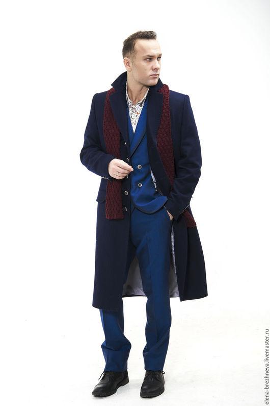Верхняя одежда ручной работы. Ярмарка Мастеров - ручная работа. Купить Пальто мужское классическое. Handmade. Тёмно-синий, пальто
