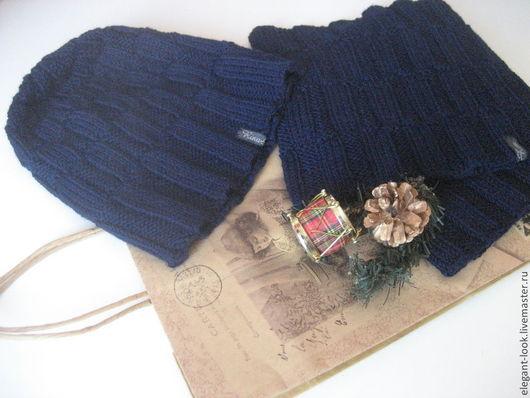 Комплекты аксессуаров ручной работы. Ярмарка Мастеров - ручная работа. Купить Комплект шапка и снуд тёмно-синего цвета. Handmade.
