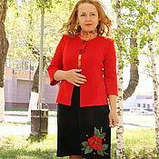 "Одежда handmade. Livemaster - original item Knitted suit ""Fiery flower"". Handmade."
