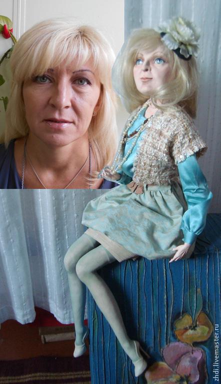Портретные куклы ручной работы. Ярмарка Мастеров - ручная работа. Купить Авторская кукла с портретным сходством. Handmade. Бирюзовый, жаккард