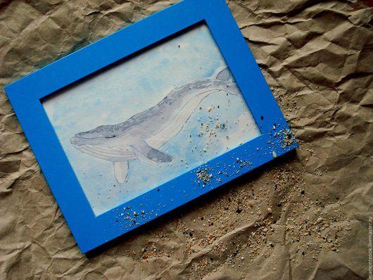 """Животные ручной работы. Ярмарка Мастеров - ручная работа. Купить Картина акварелью в рамке """"В единстве с морем..."""". Handmade."""