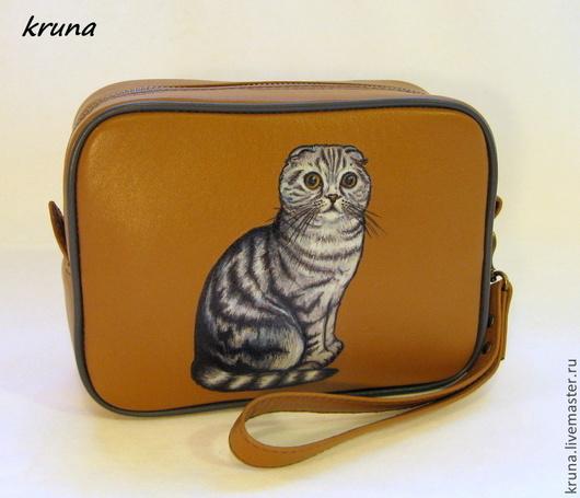 Женские сумки ручной работы. Ярмарка Мастеров - ручная работа. Купить Кожаная сумочка-органайзер  Шотландская кошка - 1. Handmade.