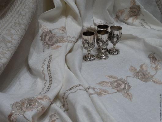 """Текстиль, ковры ручной работы. Ярмарка Мастеров - ручная работа. Купить Скатерть льняная жаккардовая """"Романтические розы"""". Handmade. Белый"""