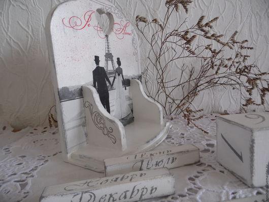 Персональные подарки ручной работы. Ярмарка Мастеров - ручная работа. Купить Вечный календарь. Handmade. Белый, Декупаж
