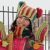 Headwear Sets handmade. Livemaster - original item Warm women`s winter hat scarf mitten set for winter Strip. Handmade.