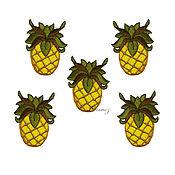 Материалы для творчества handmade. Livemaster - original item Pineapple applique embroidery badge patch decor for clothing. Handmade.