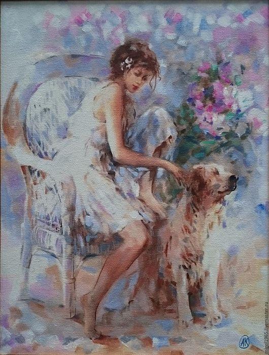 Животные ручной работы. Ярмарка Мастеров - ручная работа. Купить Девочка с Собакой. Handmade. Девочка, розы, садовая мебель