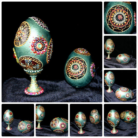 Пасхальное яйцо. Нефрит Точечная роспись. Автор: Жук Studio