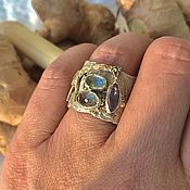 Украшения handmade. Livemaster - original item Ring Giraffe. Silver, gold, tanzanite, sillimanite, aquamarine. Handmade.