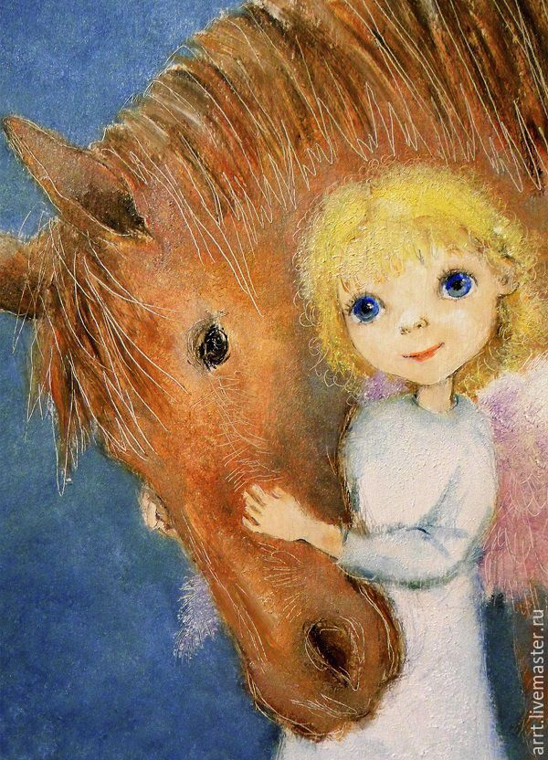 New Year 2019 handmade. Livemaster - handmade. Buy Angel with horse Reproduction picture Print.Angel, Easter gift
