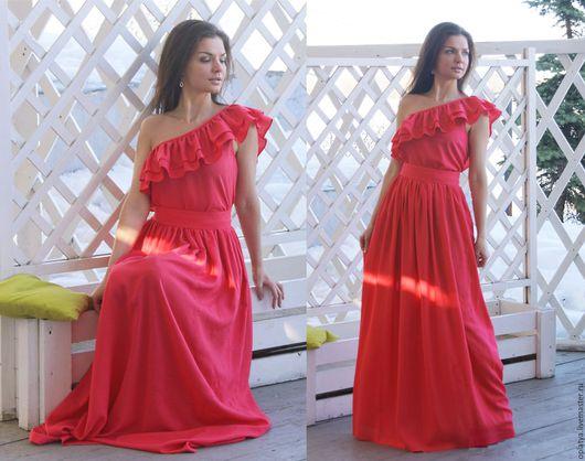 летнее длинное коралловое платье