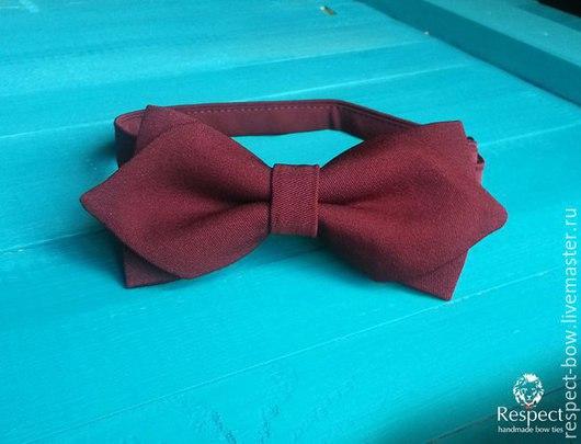 Галстуки, бабочки ручной работы. Ярмарка Мастеров - ручная работа. Купить Бордовый галстук бабочка с уголками Модник / бабочка жениха, марсала. Handmade.