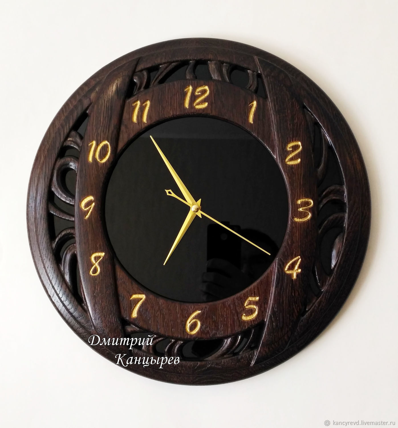 Round wall clock made of wood and glass, Watch, Ivanovo,  Фото №1