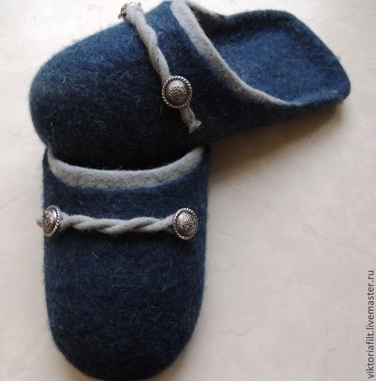 """Обувь ручной работы. Ярмарка Мастеров - ручная работа. Купить Валяные тапочки мужские """"Индиго"""". Handmade. Тёмно-синий"""