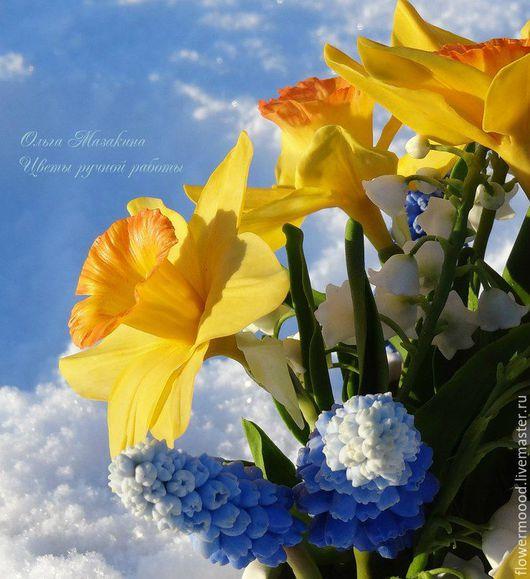 """Интерьерные композиции ручной работы. Ярмарка Мастеров - ручная работа. Купить Цветы из полимерной глины """"Весна"""". Handmade. Комбинированный, белый"""