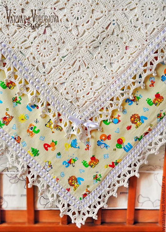 Пледы и одеяла ручной работы. Ярмарка Мастеров - ручная работа. Купить Вязаный детский плед «Молочная сказка». Handmade.