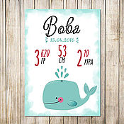 Для дома и интерьера handmade. Livemaster - original item Metric poster of a boy with a whale of a gift for the birth. Handmade.