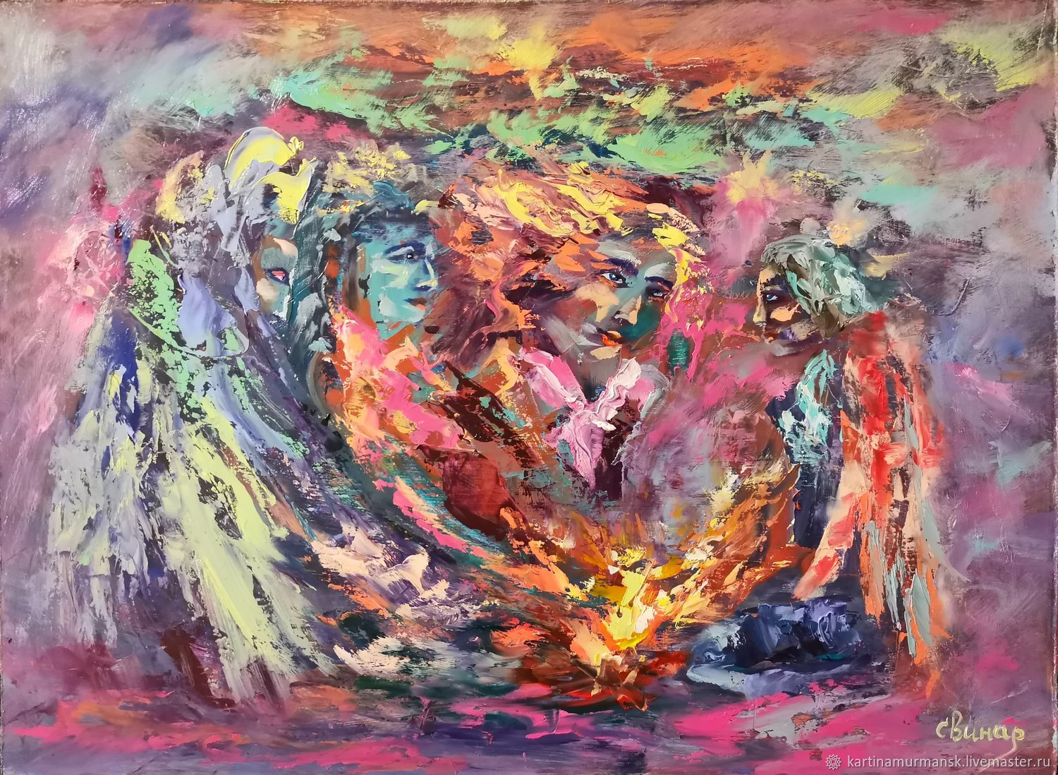 Oil painting ' Angels in Space 2', Pictures, Murmansk,  Фото №1