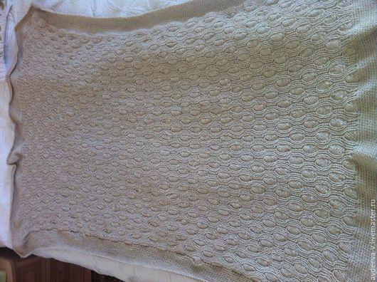 """Текстиль, ковры ручной работы. Ярмарка Мастеров - ручная работа. Купить Плед """"Деревенька"""" вязаный спицами. Handmade. Бежевый"""