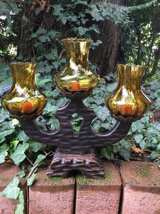 Винтажные предметы интерьера. Ярмарка Мастеров - ручная работа. Купить Подсвечник на три свечи дерево. Handmade. Подсвечник, предмет декора