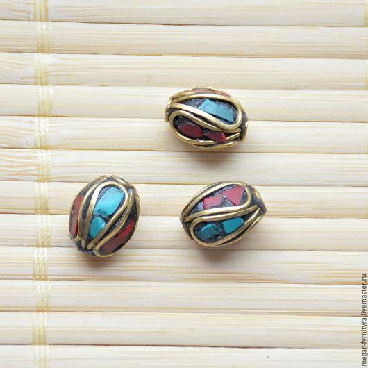 Для украшений ручной работы. Ярмарка Мастеров - ручная работа. Купить Тибетская бусина с кораллом и бирюзой. Handmade. Бирюзовый