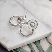 Материалы для творчества handmade. Livemaster - original item Earrings studs Ring 19.5x14.5 mm rhodium plated. (4549). Handmade.