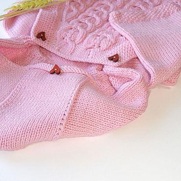 Works for children handmade. Livemaster - original item Envelope-jumpsuit knitted, for newborns, hooded, pink. Handmade.