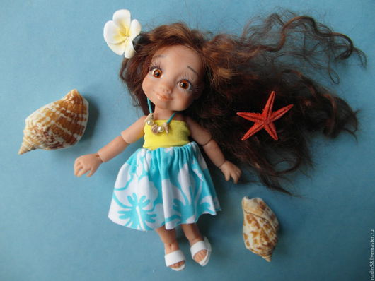 Коллекционные куклы ручной работы. Ярмарка Мастеров - ручная работа. Купить Принцесса Моана шарнирная кукла. Handmade. Бирюзовый, ракушки