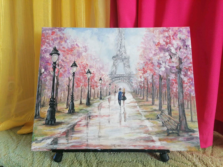 """Картина акрилом """"Париж после дождя"""", Картины, Советск,  Фото №1"""