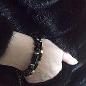 Украшения ручной работы. Ярмарка Мастеров - ручная работа Черный браслет из оникса, агатов, с серебром. Handmade.
