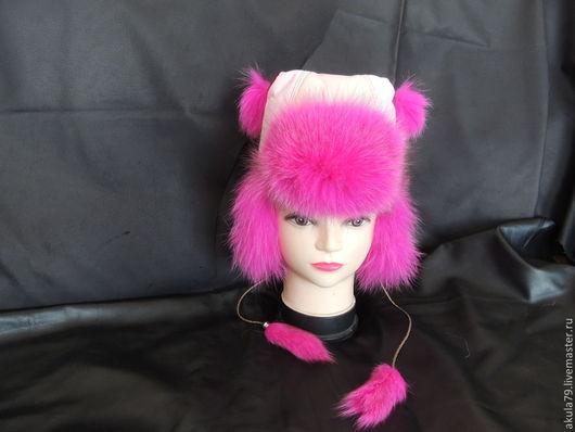 Шапки и шарфы ручной работы. Ярмарка Мастеров - ручная работа. Купить детская шапка из меха песца. Handmade. Розовый