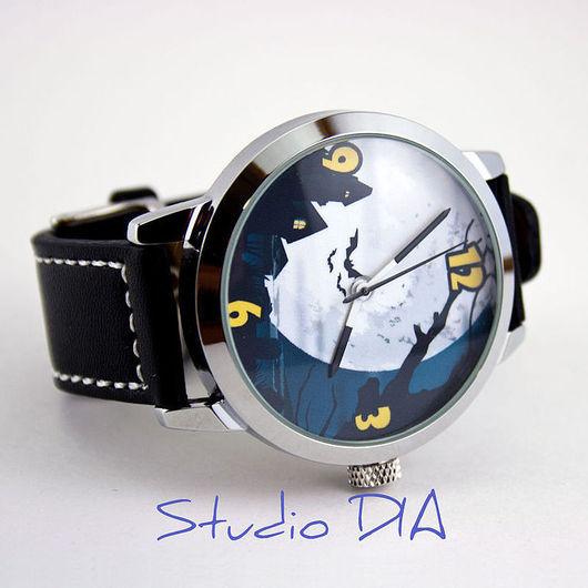 Оригинальные Дизайнерские Часы Хэллоуин Луна (Helloween). Студия Дизайнерских Часов и Кулон DIA.