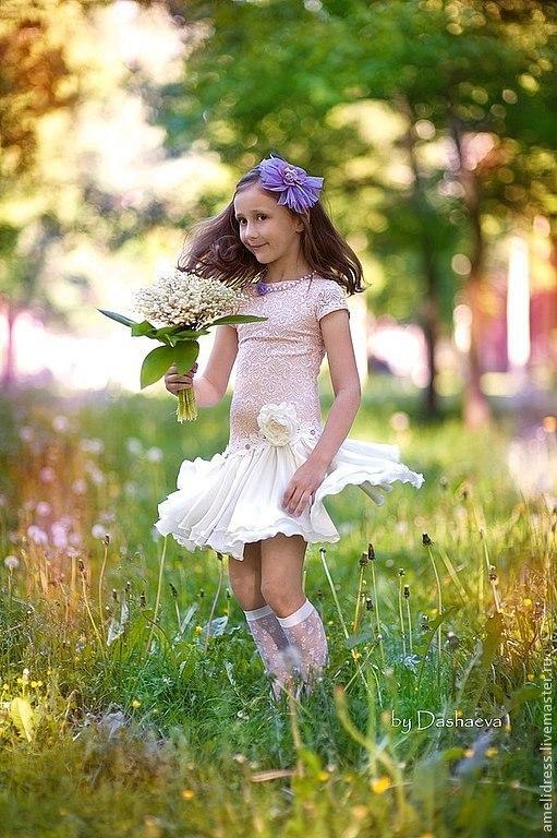 Одежда для девочек, ручной работы. Ярмарка Мастеров - ручная работа. Купить Нарядное платье. Handmade. Белый, розовый, кружево