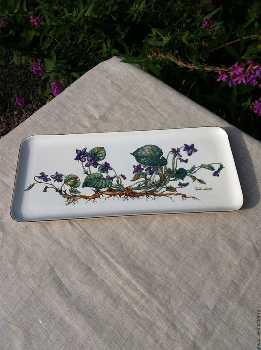 """Винтажная посуда. Ярмарка Мастеров - ручная работа. Купить Блюдо прямоугольной формы, Botanica, """"Villeroy&Boch"""", Люксембург. Handmade. подарок, для интерьера"""