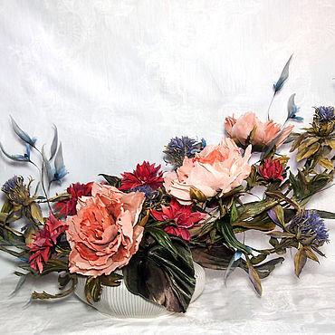 """Flowers and floristry handmade. Livemaster - original item Букет """"Кэори"""". Цветы из ткани, цветы из шелка.. Handmade."""