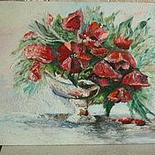 """Картины и панно ручной работы. Ярмарка Мастеров - ручная работа картина маслом """"Цветы маки"""". Handmade."""
