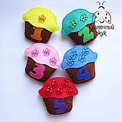 Куклы и игрушки ручной работы. Ярмарка Мастеров - ручная работа Развивающая игрушка из фетра с цифрами, кармашками и кнопками. Handmade.