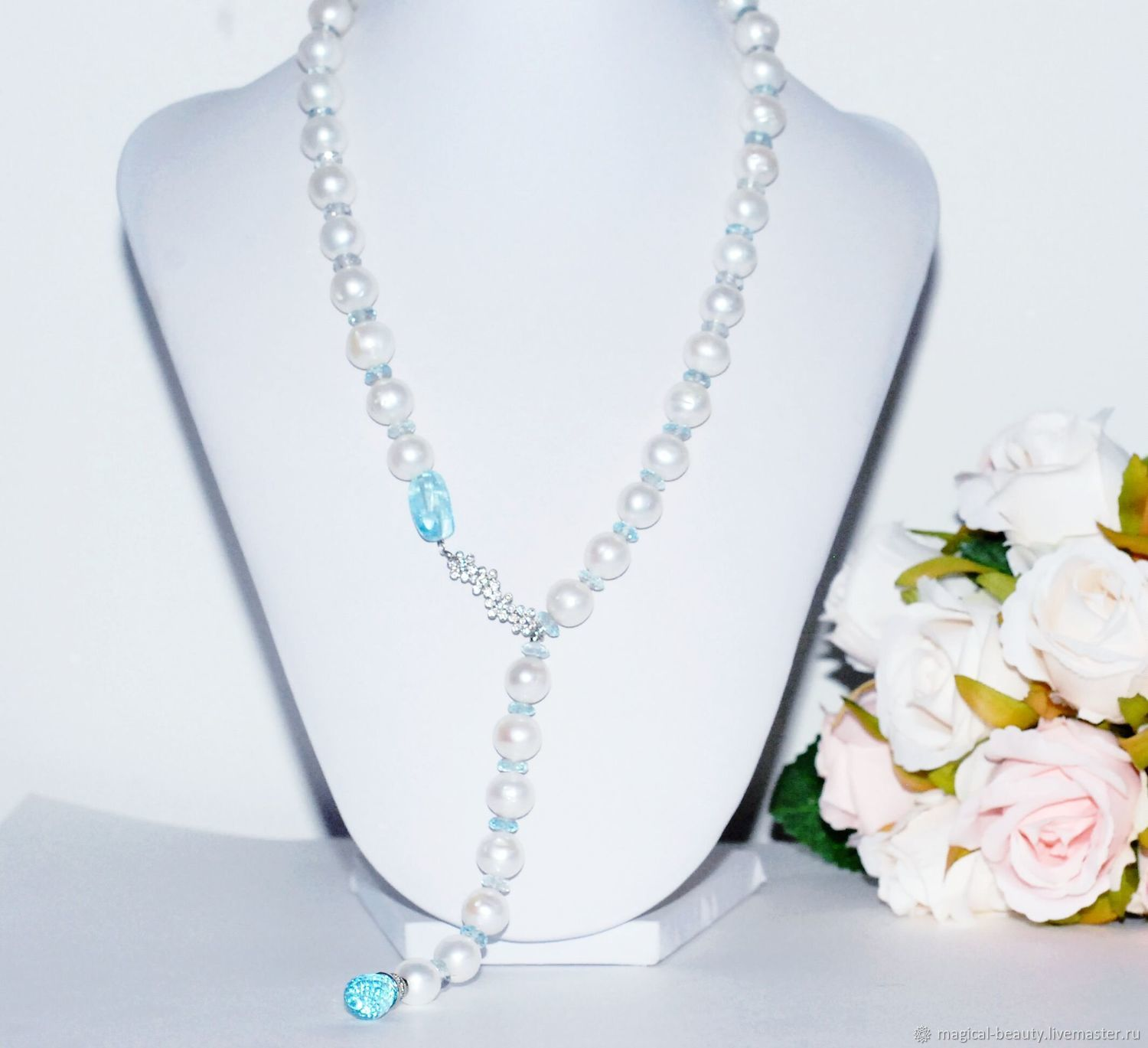 4c5214269b Necklaces & Beads handmade. Livemaster - handmade. Buy Pearl choker with  Topaz.
