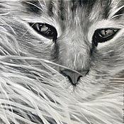 Картины и панно ручной работы. Ярмарка Мастеров - ручная работа Пушистый кот (24 х 30 см). Handmade.