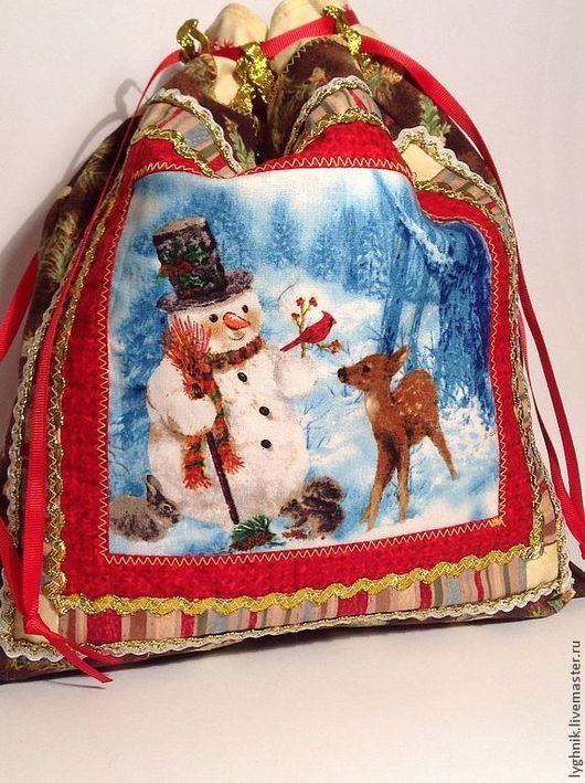 """Новый год 2017 ручной работы. Ярмарка Мастеров - ручная работа. Купить Новогодний мешочек для подарков """"Снеговик с друзьями"""". Handmade."""