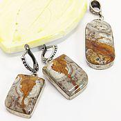 Украшения handmade. Livemaster - original item Jewelry set earrings and pendant with Jasper Heart Tree. Handmade.
