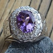 Украшения handmade. Livemaster - original item Copy of Luxurious ring with amethist in chased silver. Handmade.